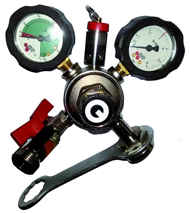 Redukční ventil pro připojení tlakové lahve s potravinářský - gastro plyn. Slouží pro redukování tlaku plynu z tlakové lahve do spotřebiče a zajištuje stabilitu tlaku.